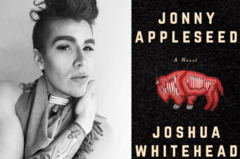 A photo of author Joshua Whitehead and the cover of his book Jonny Appleseed