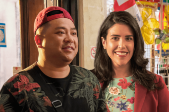 A photo of Kim's Convenience stars Andrew Phung and Nicole Power