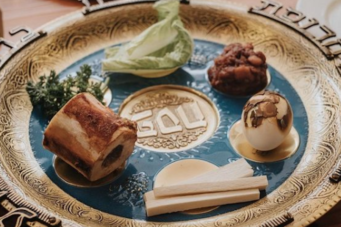 A photo of a Seder plate from Food Dudes
