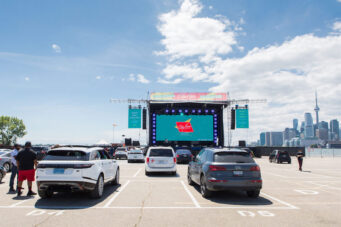 A photo of cars parked at CityView Drive-In in Toronto