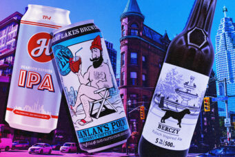 A photo of three beers named after Toronto landmarks
