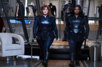 A photo of Melissa McCarthy and Octavia Spencer dressed as superheroes in Thunder Force