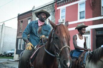 A photo of Idris Elba on horse in Concrete Cowboy