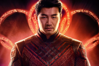 A photo of Simu Liu on the poster for Shang-Chi And The Legend Of The Ten Rings