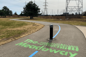 The Scarborough Hydro Corridor provides a nice break from cars and strip malls.