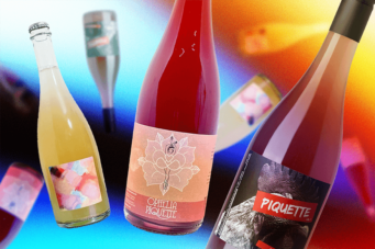 A collage of three bottles of piquette