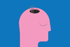 An illustration of a pink head with a hole in the top and a blue background