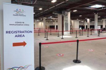 A photo of a mass immunization site in Toronto