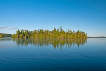 Early morning calm in the North Woods on Bayley Bay in Quetico Provincial Park in Ontario