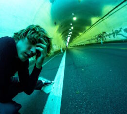 A photo of a Justin Bieber in a tunnel