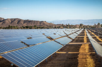 Industrial-scale photovoltaic solar field installation in Rosamond, Kern County, California