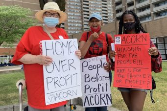 ACORN members informing members of the community of how Toronto is not using inclusionary zoning policy effectively against real estate developers